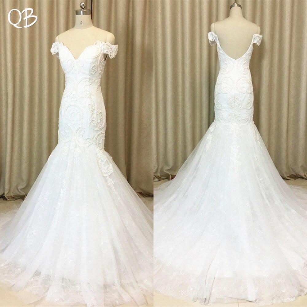 Fait sur mesure 100% Real Photo Sirène Cap Manches Dos Nu Dentelle Perles Appliqus Sexy robes de mariage 2019 Nouveau Mariage Robes XL16