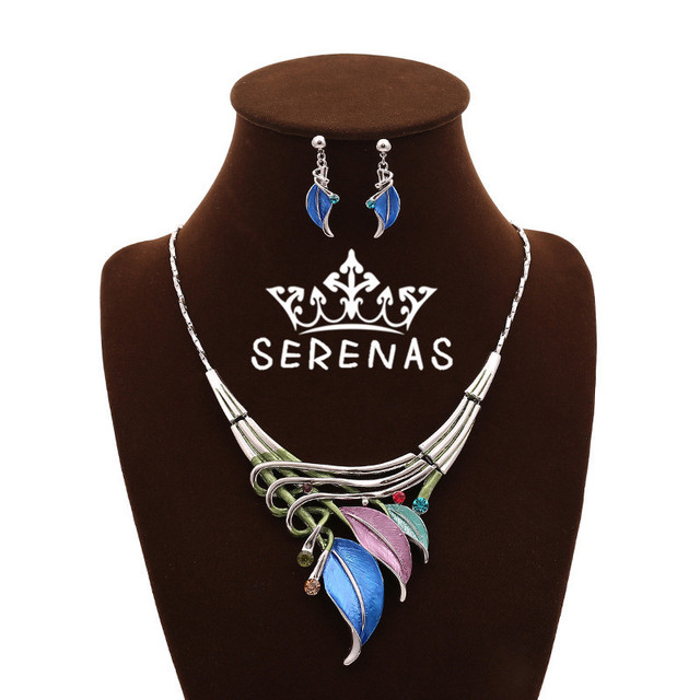 New Arrival 2016 Fashion Women's Exaggerated Luxury Colorful Enamel Leaf Crystal Statement Necklace Choker Necklace Earrings Set