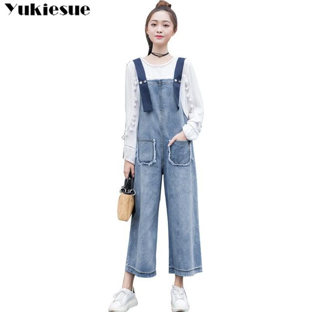 European Cowboy Breastplate Women High Waist Jumpsuit Female Loose Jeans  Woman Pants Plus Size Salopette Femme En Jean Boyfriend f20ec1fdd7c9