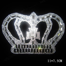 Free shipping(2pc/lot) Crown pointback rhinestones patch fixing hot fix rhinestone transfer motifs iron on applique