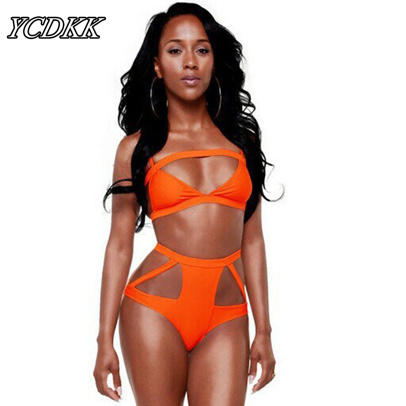 YCDKK Orange Color Sexy Bandage Bikini Set Push Up Swimwear High Waist Swimsuit Hollow Cut Out Brazilian Bathing Suit Beach Suit maheu 2017 sexy high neck halter thong bikini set push up women bandage hollow swimsuit swimwear female cut out bathing suit