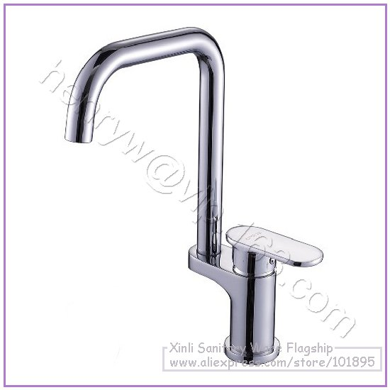 L16522 Luxury Deck Mounted Chrome Color Brass Material Single Leaver Kitchen Mixer