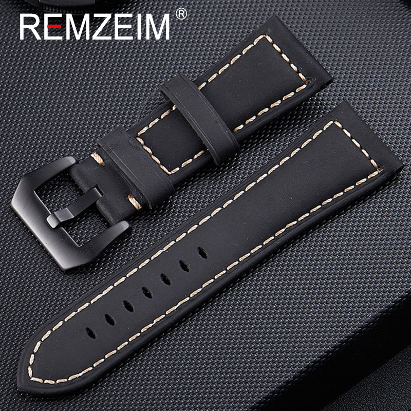 Watchbands Genuine Leather Black Green Brown Men Women 20mm 22mm 24mm 26mm Watch Band Strap Silver Black Metal Pin Buckle
