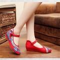 2017 Moda Apontou Toe sapatos Velhos Pequim Sapatos Baixos Estilo Tradicional Chinês Soft Rose Bordados Sapatos de Dança Casuais Zapatos Mujer