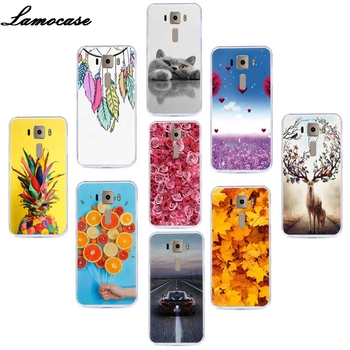 Lamocase Silicon Rubber Phone Cover For Asus Z017D Zenfone 3 ZE520KL ZE ZE520 520 520KL KL Fashion Leaf Pattern Back Case Covers image