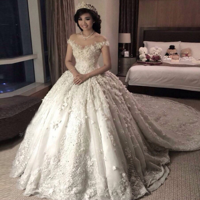 Vestido De Noiva Off The Shoulder 3D Flower Ball Gowns Lace Wedding Dress Online Shopping Casamento Robe Mariage In Dresses From Weddings
