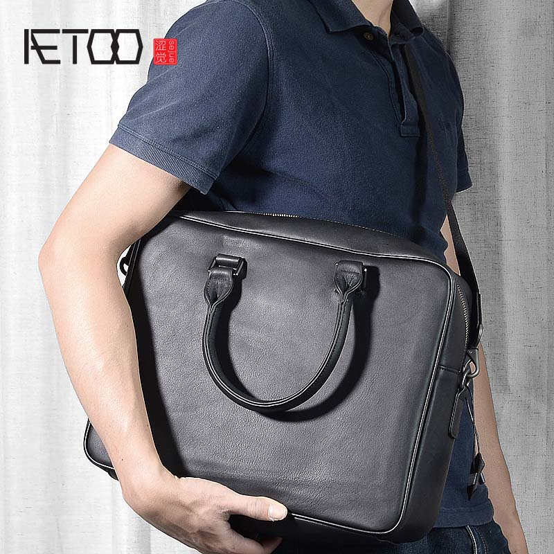 AETOO Men's Bag Korean Business Tote Bag Simple Solid Shoulder Messenger Bag Cowhide Leather Men's Bag Briefcase Male
