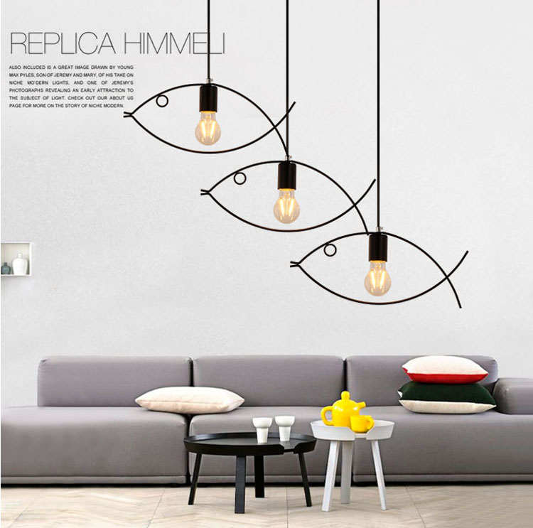 Personality iron bar cafe restaurant fish pendant retro industrial style bedroom balcony fashion chandelier FG514
