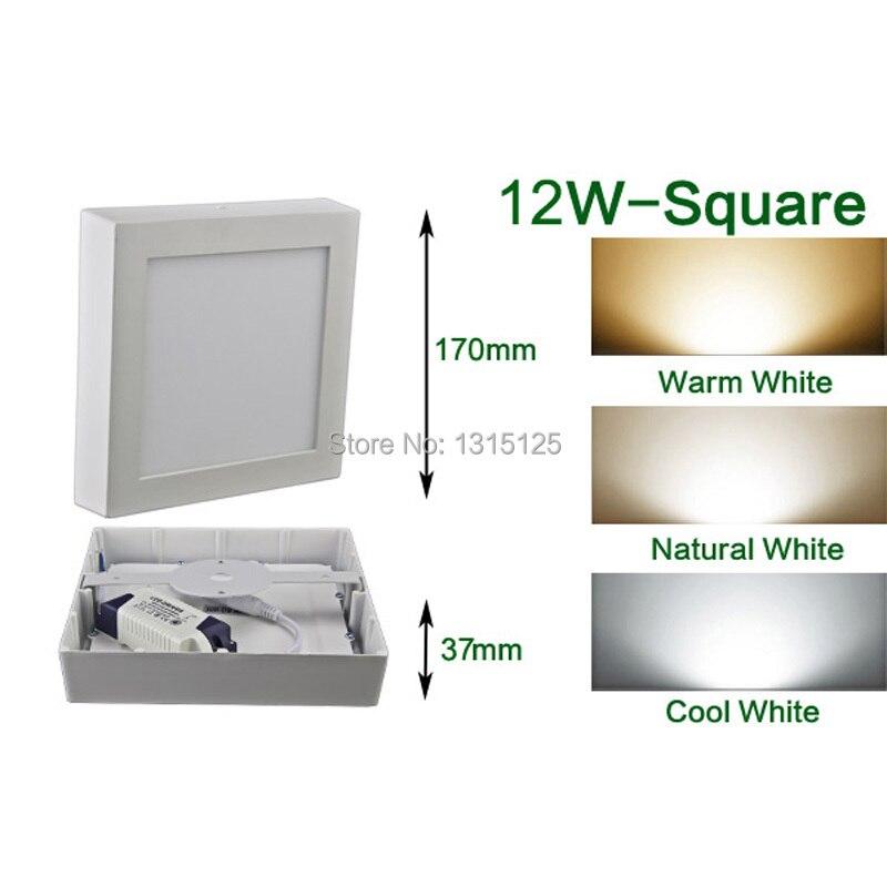 Hliníkové čtvercové LED panelové osvětlení / 12W povrchové panely Stropní stropní osvětlení Velkoobchodní svítidlo žárovky Osvětlení zdarma