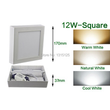 Aluminum Square LED Panel Light / 12W Surface Panel Wall Ceiling Down Lights Wholesale Mount Bulb Lamps Free Shipping