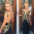 Moda Oriente medio Dubai Vestido Formal Largo Del Vestido de Noche de Lentejuelas de Oro 2017 Vestido De Noiva Hermosa Dama Vestidos de Noche Largos