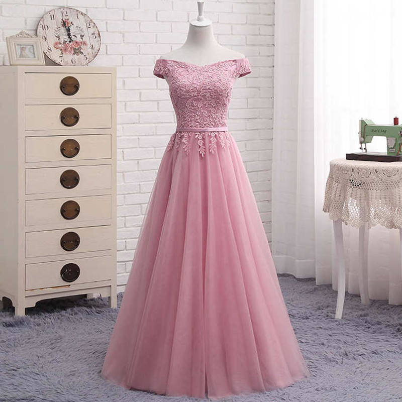 Holievery Off the Shoulder Tulle Long   Bridesmaid     Dresses   with Lace 2019 Wedding Guest   Dress   Bruidsmeisjes Jurk Blush Pink