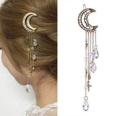 2017 Vintage Crystal Rhinestone Moon Tassel Drop Hair Pin Clip Women Headdress Gift