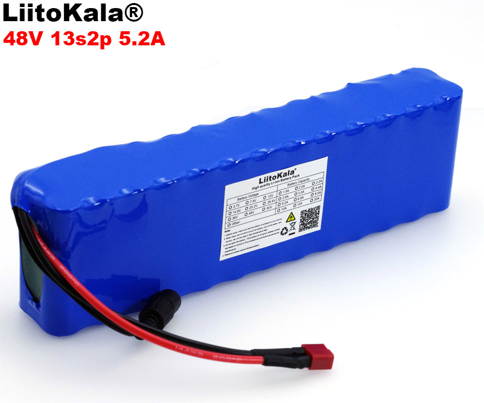 LiitoKala 48V 5.2ah 13s2p High Power 5200mAh 18650 Battery Electric Vehicle Electric Motorcycle DIY Battery 48v BMS Protection 13s 48v electric vehicle power lithium battery protection plate bms belt equalization charging and discharging current 18a