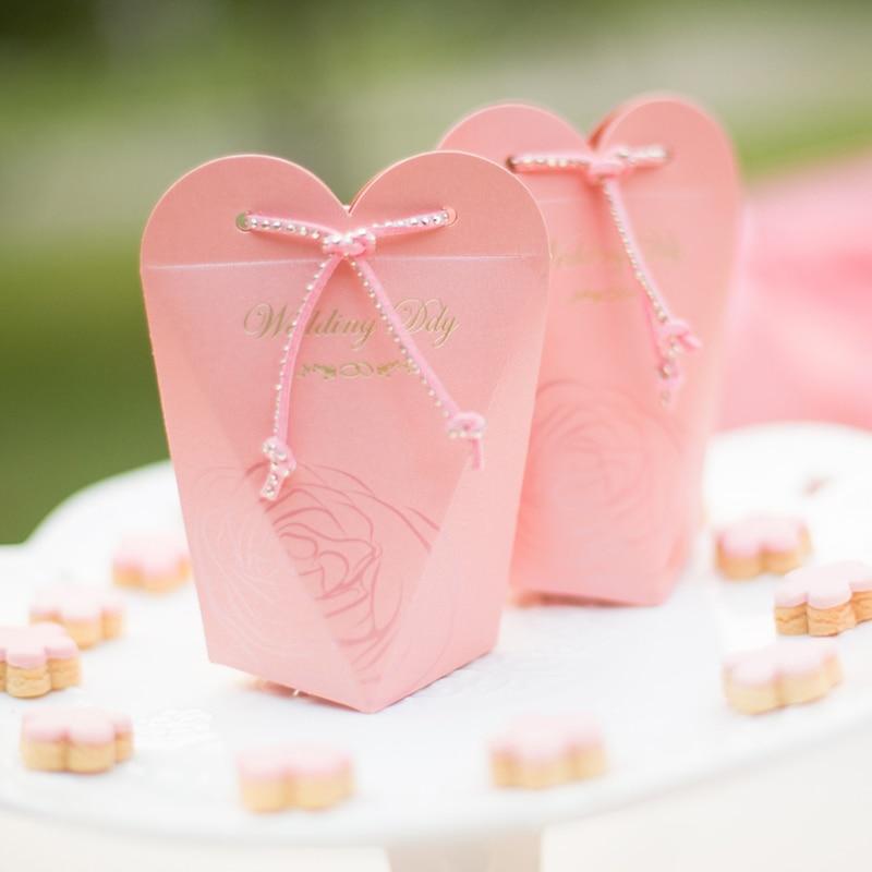 Europe Creative Pearlescent papier boîte à bonbons/violet/rose/rouge romantique cadeau boîtes d'emballage sacs mariage parti faveurs fournitures