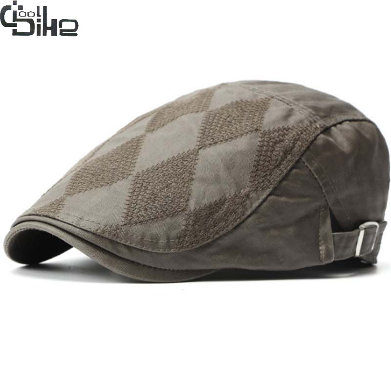 Nueva boina sombreros hombres Patchwork Unisex casquillo clásico estilo  europeo Otoño Invierno casquette homme Casual al aire libre visera sombrero  ... 022fe820ddf