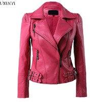 Spring 2017 Leather Jacket Women Korean Fashion Hasp Leather Coat Brand Big Size Shorts Faux Leather