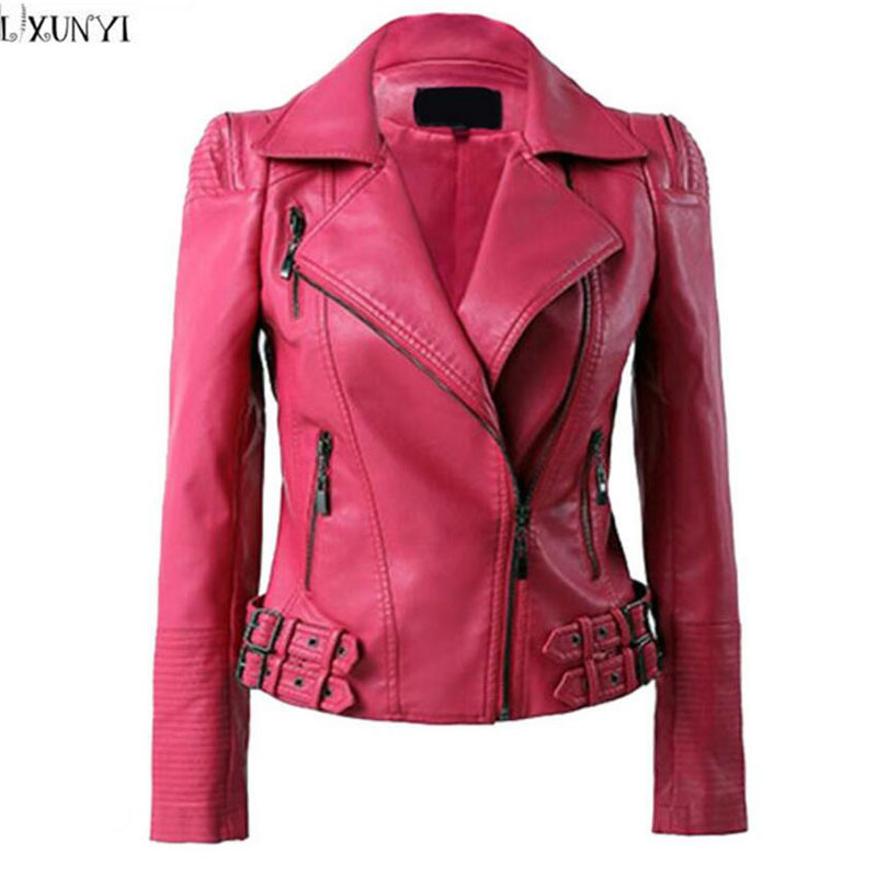 2019 Spring Autumn leather jacket Women Korean Fashion Pu leather Coat Brand Big Size Shorts Faux Leather Jackets  2XL 3XL 4XL