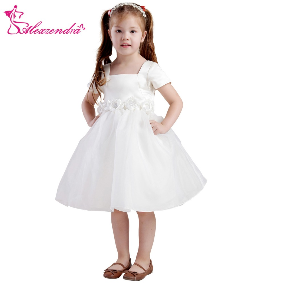 Alexzendra White Ivory Tea Length Organza   Flower     Girls     Dresses   with Sash   Girls   First Communion   Dress   Princess   Girl     Dress
