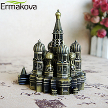 ERMAKOVA Retro Bronze Metal Moscow Kremlin Figurine Statue Building Model Living Room Vintage Home Desktop Decor Gift