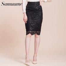 c4a71ee9548 Samuume Высокая Талия Работа Bodycon юбка-карандаш женские элегантные волна  кружевные юбки офисные черный Миди