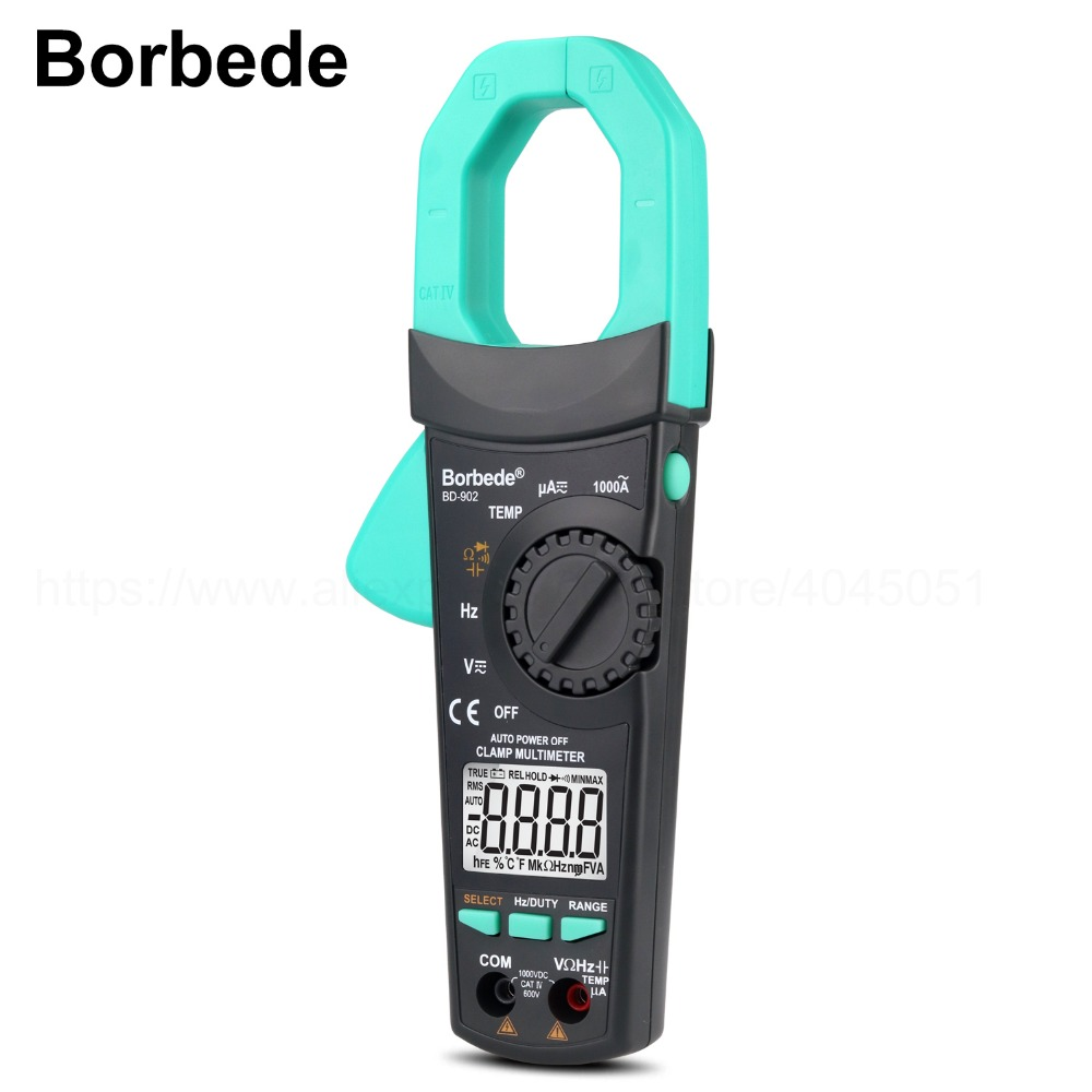 Borbede Digital Clamp Meter Multimeter 6000 Counts Auto Ranging DC AC Resistance Capacitance Diode Temperature Tester new ms8221c digital multimeter auto manual ranging dmm temperature capacitance hfe tester