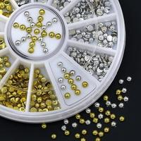 New Arrival 2mm Acrylic Golden Silver Studs Nail Art Stickers DIY Manicure Tips Rhinestone Decor Wheel 7H13