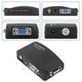 1 conjunto de Alta Resolução Digital AV/S de vídeo para VGA TV Adaptador Conversor de sinal S-video para VGA Conversão Interruptor para PC Notebook