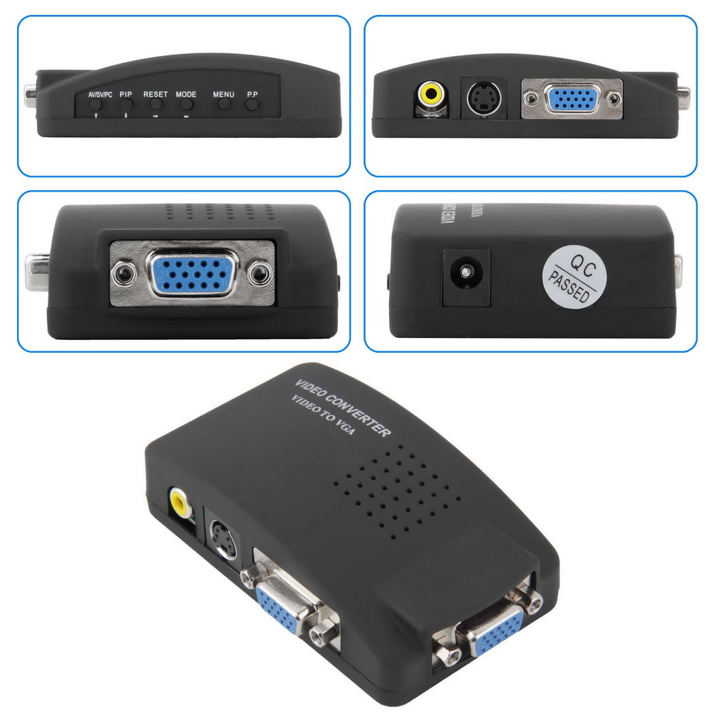1set High Resolution Digital AV / S video to VGA TV Signal Converter Adapter S-video to  ...
