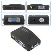 1set High Resolution Digital AV / S video to VGA TV Signal Converter Adapter S-video to VGA Switch Conversion for PC Notebook
