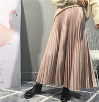 2019 Top Brand High Quality Women Suede Skirt Autumn High Waist Long Pleated Skirts Womens Saias Faldas Vintage Women Midi Skirt