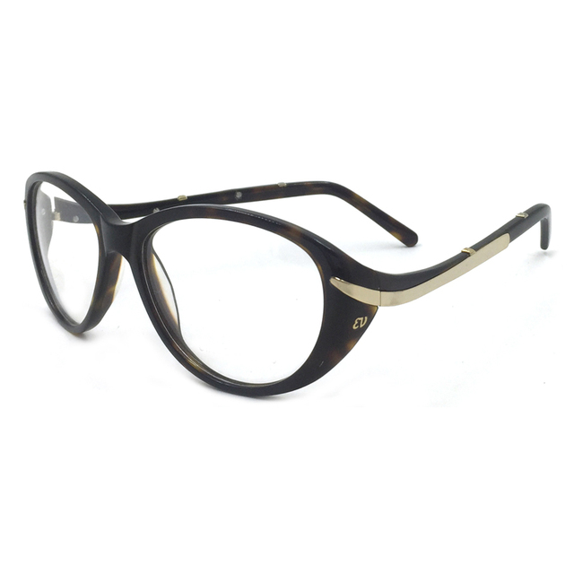 c36a9f4a70cc Laura Fairy Fashion Style Women Glasses Frame Black Demi Brown Color Metal  Patchwork and Wave Design