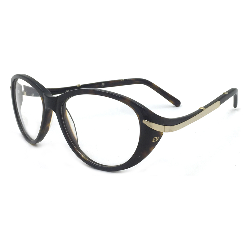 Laura Fairy Fashion Style Women Glasses Frame Black Demi Brown Color Metal Patchwork and Wave Design Temple Eyeglasses Frames