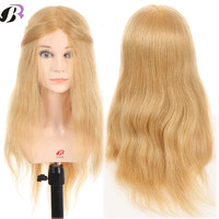 Лидер продаж Блондинка 20 100% натуральные волосы Учебные головы манекены для парикмахеров прически Обучение манекен голова куклы с плеча