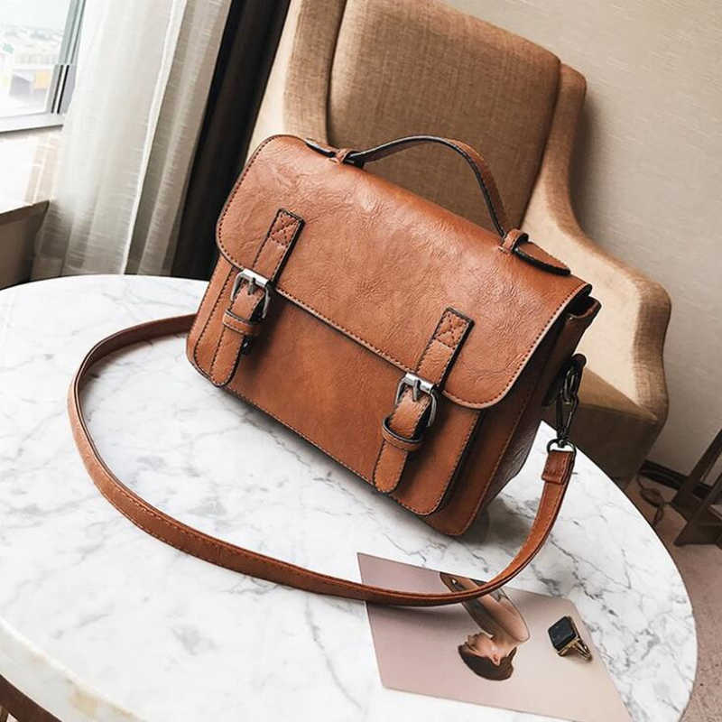 BARHEE England Vintage Women Messenger Bag PU Leather Small Retro Satchel Cover Handbag Vintage Women Shoulder Bag Female Bag