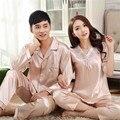 Casal pijama define pijamas de seda Loungewear conjunto de pijama de seda Sleepwear de manga comprida terno moda início vestuário casais pijamas