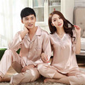 Pareja pijama establece pijamas de seda Loungewear pijama conjunto ropa de dormir de manga larga traje moda inicio ropa ropa de dormir parejas