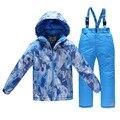 -30 Зима Детская Одежда Устанавливает Мальчиков-Подростков, Лыжный Костюм Ветрозащитный Лыжные Куртки + Нагрудник Брюки 2 шт. Мальчиков Одежда набор для 3-15лет