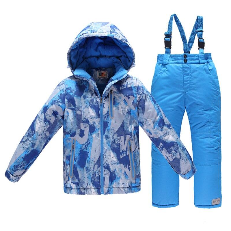 -30 Winter Children Clothing Sets Teenage Boys Ski Suit Windproof Ski Jackets+Bib Pants 2pcs Boys Clothes Set for 3-15Years