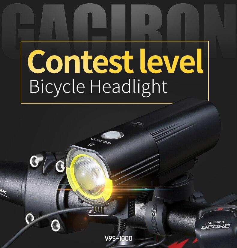 Gaciron V9S Bicycle Headlight USB Charge Internal Battery LED Front Tail Lamp Cycling Lighting Visual Warning Safety Lantern