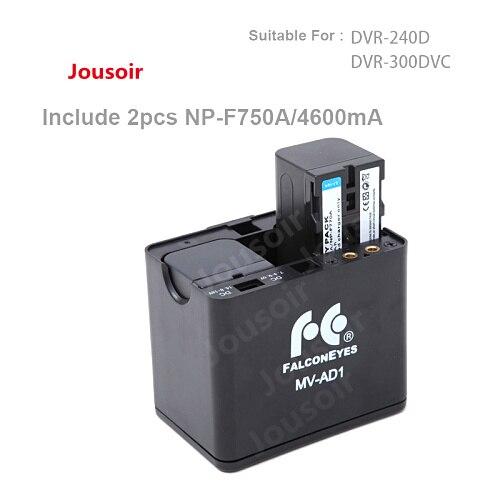 Falcon Eyes Battery Holder Case MV AD1 + 2pcs NP F750A Batteries for FALCONEYES DVR 240D DVR 300DVC LED Ring Light CD30