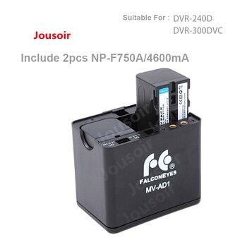 Falcon Eyes Battery Holder Case MV-AD1 + 2pcs NP-F750A Batteries for FALCONEYES DVR-240D DVR-300DVC LED Ring Light CD30