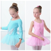 Girl Children Cotton Spandex Ballet Dance Dress Kid Sequin Butterfly Pink Swan Tutu Dress Long Sleeve