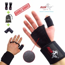 """RUNTOP Crossfit WODS Training Grip Gloves 18"""" Wrist Wrap Brace Support Weight Lifting Powerlifting Workout Fitness GYM Hand Palm"""