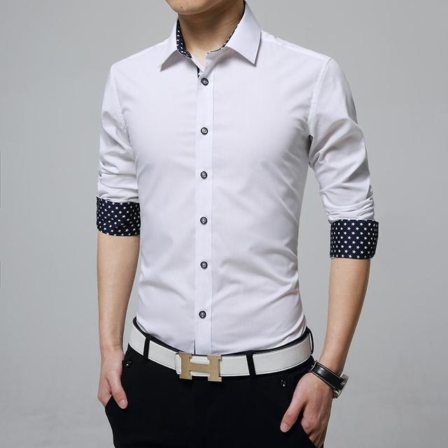 shirt 2016 spring new dress shirt men elastic chemise homme solid slim fit men shrit