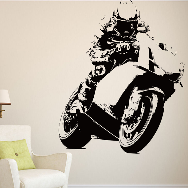 Race Motorcycle Games Wall Stickers Motocross Wall Decals Race Motorcycle Kid  Room Mural Creative Cut Vinyl Easy Removable