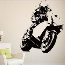 Carrera de Motos Juegos de Carrera de Motos de Motocross Pegatinas de Pared Tatuajes de Pared Del Sitio Del Cabrito Mural Creativo Cortar Vinilo Extraíble Fácil