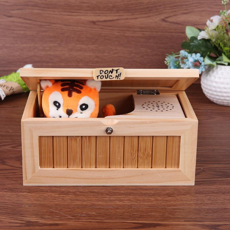 Wooden Useless Box Don't Touch Tiger Toy Gift Desktop Toy Leave Me Alone Novel Box Kids Adults Funny interactive Toys Gifts neje wooden useless fully assembled machine box toy brown 2 x aa