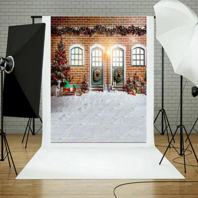 3x5ft Christmas House Photo Background DIY Party Decoration Retro Vinyl Studio Backdrop Photography Props