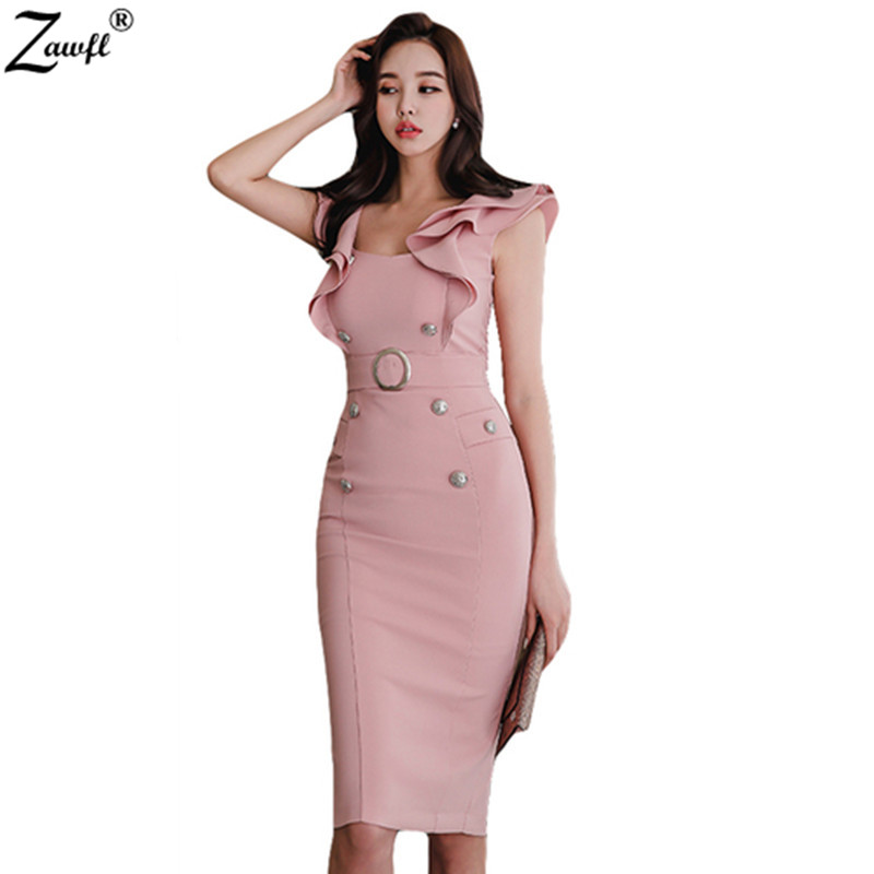 ZAWFL High Quality Sexy Women's Dress 2019 Fashion V Collar Pencil Dress Women Lotus Leaf Sleeve Office Party Dress
